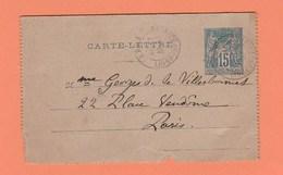 CACHET LEGE LOIRE INFERIEURE   SUR CARTE LETTRE POUR PARIS - Marcophilie (Lettres)
