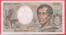 """200 Francs """"Montesquieu"""" 1986 -----VF/SUP---Série R.042--- - 1962-1997 ''Francs''"""