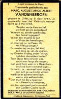 DOODSPRENTJE MARC VANDENBERGEN ° UKKEL UCCLE 1944 + 1948 KIND ENFANT - Images Religieuses
