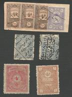 TURKEY LOT OF 8 REVENUE STAMP , NEW - USED ; TURCHIA LOTTO DI 8 MARCHE FISCALI , NUOVE - USATE - 1858-1921 Ottoman Empire