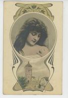FEMMES - FRAU - LADY - Jolie Carte Fantaisie Femme épaules Dénudées ART NOUVEAU - Prénoms