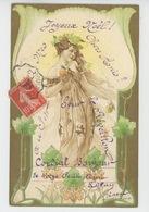 FEMMES - FRAU - LADY - Jolie Carte Fantaisie Gaufrée Portrait Femme ART NOUVEAU (embossed Postcard) - Prénoms