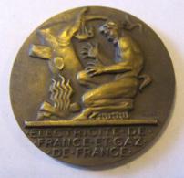 France - Médaille EDF / GDF Electricité Et Gaz De France - Bronze - 20 Années De Service - Attribuée - TBE - Professionals/Firms