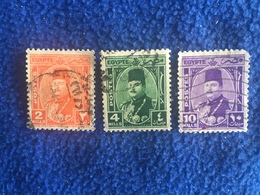 Egyotian Stamp Early Issue King Farouk  1943 Set Of 3 , Canceled & Hinged - Used Stamps