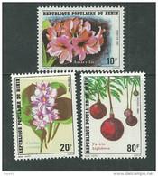 Bénin  N° 524 / 26 X Flore Fleurs Les 3 Valeurs  Trace De Charnière Sinon TB, - Bénin – Dahomey (1960-...)