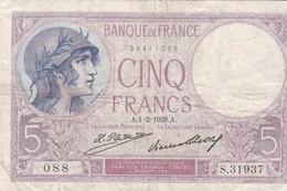 5 FRANCS VIOLET TYPE 1917 / 01/02/1928 - 5 F 1917-1940 ''Violet''