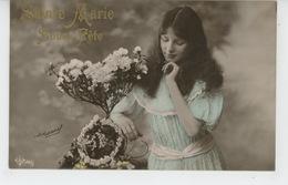 """ENFANTS - LITTLE GIRL - MAEDCHEN - Jolie Carte Fantaisie Fillette Et Fleurs """"SAINTE MARIE """" - Prénoms"""