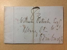 GB Victoria 1834 Wrapper Irvine To Edinburgh 81/2 Hand Drawn Mark - ...-1840 Préphilatélie