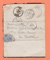 CACHETS CONVOYEUR STATION REDON SUR LETTRE POUR DURTAL + BUREAU DE PASSE LE MANS 2188 - Marcophilie (Lettres)