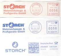 5168  Cigogne: Ema D'Allemagne, 2001-2009  -  Three Stork Meter Cancels From Wuppertal, Germany - Storchenvögel