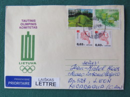 Lietuva Lituania 2018 Cover To Nicaragua - Horseman - Gardens (damaged Stamps) - Olympic Games - Lithuania