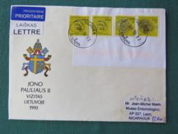 Lietuva Lituania 2018 Cover To Nicaragua - Coins - Pope John Paul II Arms - Lituanie