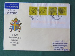Lietuva Lituania 2018 Cover To Nicaragua - Coins - Pope John Paul II Arms - Lithuania