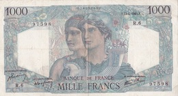 1000 F Minerve Et Hercule 1er Date - 1871-1952 Anciens Francs Circulés Au XXème