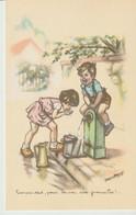C P A. - GERMAINE  BOURET - 1937 - BOIS PAS TOUT PENSE UN PEU AUX GRENOUILLES - GRANDS MAGASINS DE LA SAMARITAINE  PARIS - Bouret, Germaine