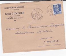 PIE-VPT-18-045 : ENVELOPPE. LOCATION DE MEUBLES POUR VACANCES. JULES CUVELIER LA BOUGONNETIERE. THESEE.28 5 1953 - Marcophilie (Lettres)