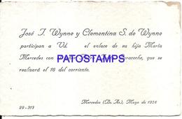 105175 ARGENTINA MERCEDES BUENOS AIRES JOSE WYNNE Y CLEMENTINA YEAR 1936 PARTICIPACION NO POSTAL POSTCARD - Argentinien