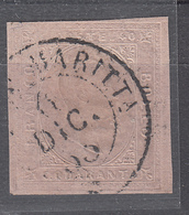 Regno Di Sardegna - III Emissione - 40 Cent. Rosa Vivace Sass. 6b - Sardinië