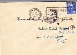 PIE-VPT-18-055 :  POSTE AUX ARMEES. 31 DECEMBRE 1951. MONTPELLIER CENTRALISATEUR - Postmark Collection (Covers)