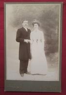 Photo Ancienne Fin XIXe Couple Mariés Couronne - Photographie Louis Durand TONNERRE - Yonne 89 - Photographs
