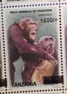 TANZANIA, 2018,MNH, PRIMATES,CHIMPANZEES, 1v,OVERPRINT - Chimpansees