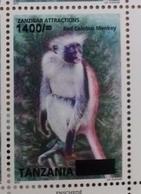 TANZANIA, 2018, MNH, FAUNA, MONKEYS,1v OVERPRINT - Monkeys