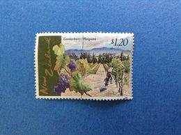 NUOVA ZELANDA NEW ZEALAND CANTERBURY WAIPARA UVA VITE AGRICOLTURA $ 1.20 FRANCOBOLLO USATO STAMP USED - Nuova Zelanda