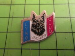 818C Pin's Pins /  Rare & De Belle Qualité : THEME ANIMAUX / CHIEN BERGER ALLEMAND ET DRAPEAU FRANCAIS ? ORCHIES CYNO - Animals