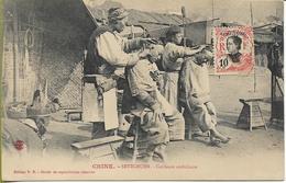 CHINE - SETZCHUEN  Coiffeurs Ambulants   SUPERBE GROS PLAN - China