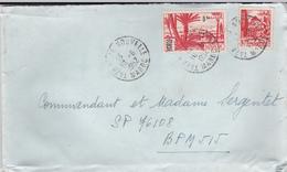 PIE-VPT-18-061 :  ENVELOPPE. TAZA VILLE NOUVELLE. MAROC. AFFRANCHISSEMENT AVEC DEUX TIMBRES. 10 JUIN 1952 - Maroc (1891-1956)