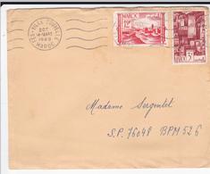 PIE-VPT-18-062 :  ENVELOPPE. FES VILLE NOUVELLE. MAROC. AFFRANCHISSEMENT AVEC DEUX TIMBRES. 14 MARS 1949 - Maroc (1891-1956)