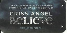 HOTEL LUXOR LAS VEGAS NEVADA USA - CRISS ANGEL BELIEVE - CIRQUE DU SOLEIL - Clé D'Hôtel / Room Key - Cartes De Casino