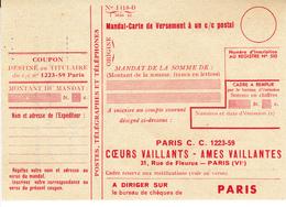 PIE-VPT-18-064 :  MANDAT-CARTE. PRE IMPRIME PAR LA BANDE DESSINEE. COEURS VAILLANTS. AMES VAILLANTES - Vieux Papiers