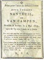 Doodsprentje VAN CAMPEN-NANTEUIL A. - +1819 Antwerpen - Kopergravure PERKAMENT - Images Religieuses