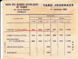 PIE-VPT-18-065 :  TARIF JOURNEAUX OEUVRES CATHOLIQUES DE FARNCE. LA BANDE DESSINEE. COEURS VAILLANTS. AMES VAILLANTES - Vieux Papiers