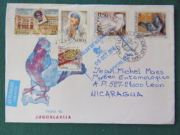 Serbia (Yugoslavia) 2018 Cover To Nicaragua - Stamp Day - FDC Bird Dove - Mother Teresa Of Calcutta - Serbie