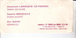 PIE-VPT-18-066 : CARTON INVITATION EXPO GENILLE INDRE ET LOIRE. J.  LARROQUE-LE PORTOIS. C. BOUFFAULT. RAY DAVID - Vieux Papiers