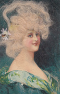 PORTRAIT De JEUNE FEMME Avec AJOUTIS De CHEVEUX VÉRITABLES Et FLEUR En TISSU BLANC ~ 1905 - '10 - RRR !!! (aa273) - Dreh- Und Zugkarten