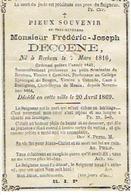 E.H. DECOENE Frédéric - REKKEM, ROESELARE, COMINES, OOSTENDE, DOTTIGNIES, MENEN - Overleden 1869 - Images Religieuses