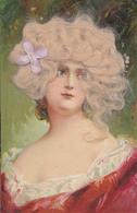 PORTRAIT De JEUNE FEMME Avec AJOUTIS De CHEVEUX VÉRITABLES Et FLEUR En TISSU ROSE ~ 1905 - '10 - RRR !!! (aa274) - Dreh- Und Zugkarten