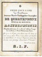 Doodsprentje Jeanne DE QUERTENMONT (xA.J. STEENECRUYS) - Overleden Antwerpen 1830 - Images Religieuses