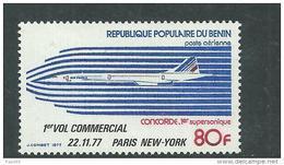 Bénin PA  N° 278 X 1er Vol Commercial De Concorde Paris-New York, Trace De Charnière Sinon TB - Bénin – Dahomey (1960-...)
