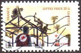 Oblitération Moderne Sur Autoadhésif De France N° 1138 - Croix Rouge. Construction D'hôpitaux Mobiles - Adhésifs (autocollants)