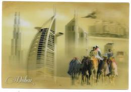DUBAI - A Camel Caravan Blends The Past And Present Of Dubai - 3d Lenticular Postcard - Format: 11 X 16 Cm - Dubai