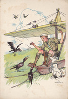 SCOUT / ÉCLAIREUR Et CHIEN Et OISEAUX / BOY SCOUT And DOG : FLYING In GLIDER / VOL En PLANEUR - MARTON L. ~ 1930 (aa275) - Scouting