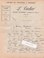Facture 1907 / L. CARLIER / Louage Voitures / Place D' Armes / 59 Douai Nord - 1900 – 1949