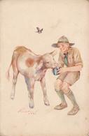 SCOUT / ÉCLAIREUR NOURRISSANT Un VEAU / BOY SCOUT FEEDING A CALF ~ 1931 - '35 (aa277) - Scouting