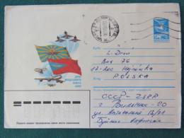 Lithuania (USSR) 1986 Vilnius Cover To Poland - Planes Flags - Lituanie
