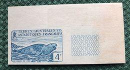 TAAF  1959/63  -  Léopard  De  Mer - 4f  , Yvert# 13B  , Maury# 15 -  Essai ND Bleu  , Avec  Bord De Feuille  ( *) - Non Dentelés, épreuves & Variétés