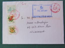 Algeria 2017 Cover To Nicaragua - Flowers Roses Building - Algérie (1962-...)